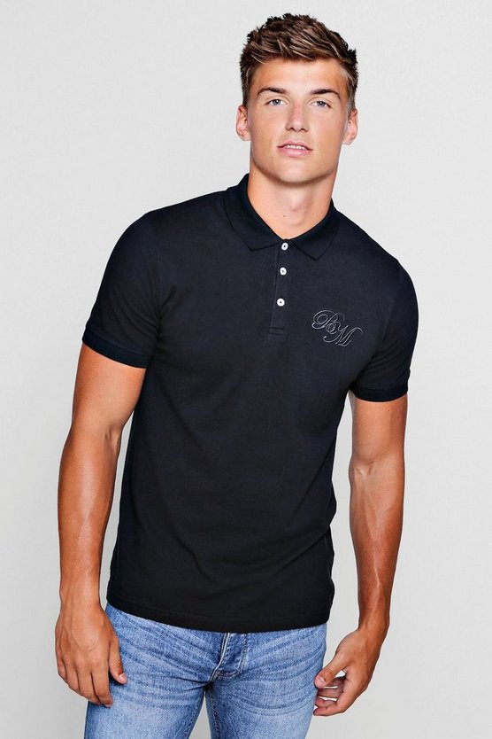 Short Sleeved BM Logo Pique Polo