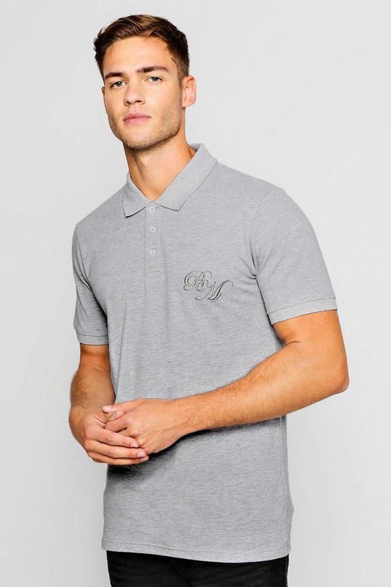 Mens Grey Short Sleeved BM Logo Pique Polo