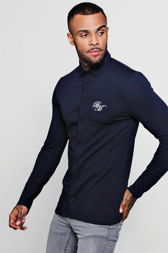 Mens Navy Long Sleeved Muscle Fit Shirt With BM Logo