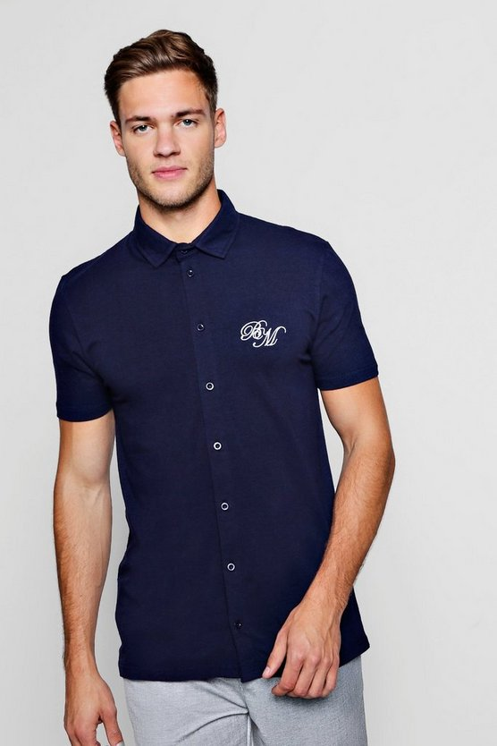 Mens Navy Short Sleeve Muscle Fit Shirt With BM Logo