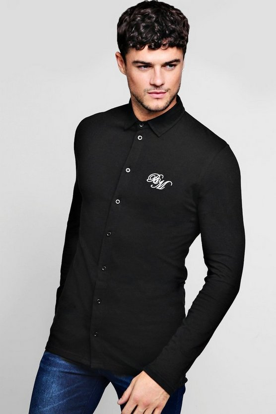 Mens Black Long Sleeved Muscle Fit Shirt With BM Logo