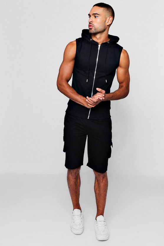 Mens Black Sleeveless Hoodie + Cargo Short Tracksuit