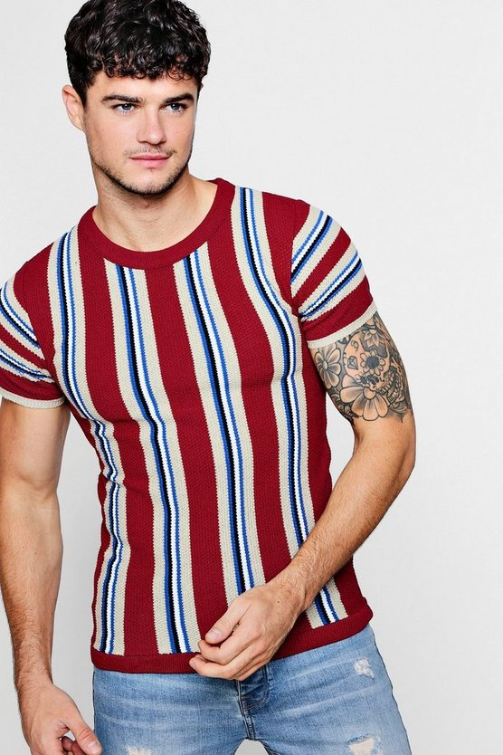 Colour Block Stripe Knitted T-Shirt