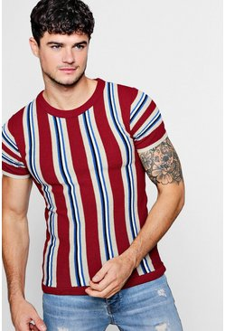 Mens Wine Colour Block Stripe Knitted T-Shirt