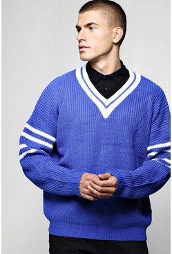 Mens Cobalt Oversized V Neck Knitted