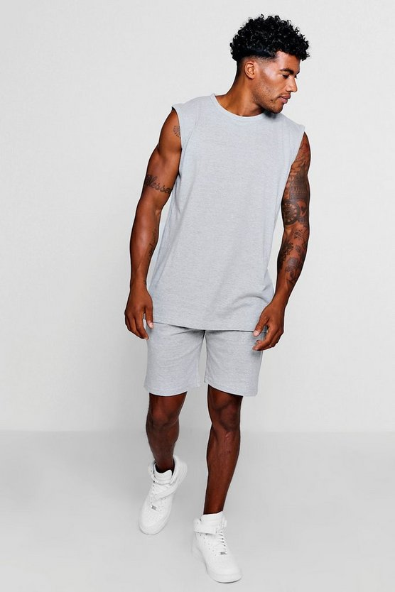 Tank + Mid Length Short Set, Grey, МУЖСКОЕ