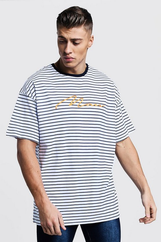 Mens Navy Oversized Stripe MAN Embroidered T-Shirt