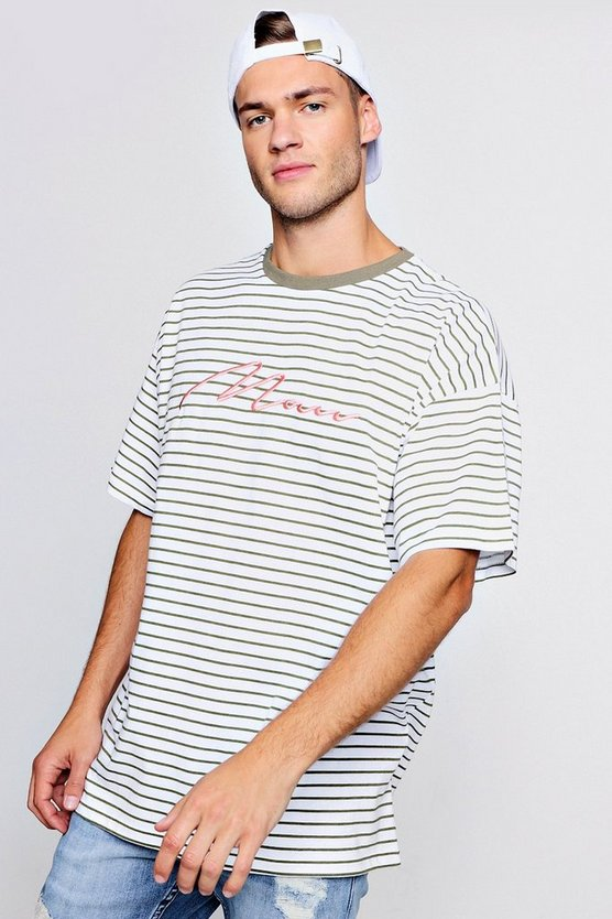 Mens Olive Oversized Stripe MAN Embroidered T-Shirt