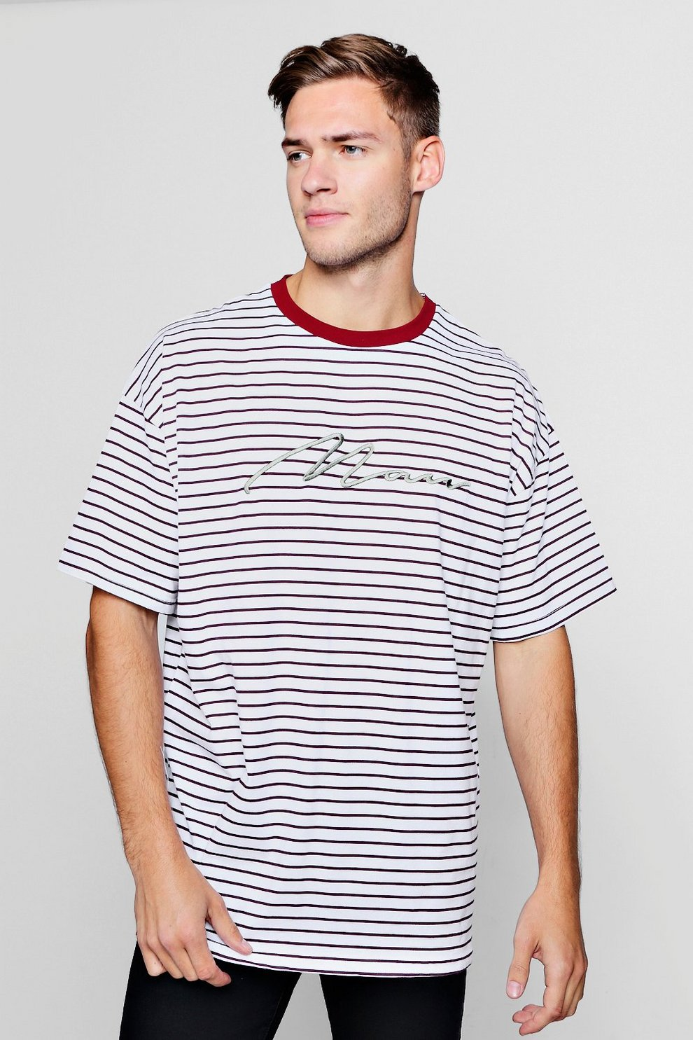 c3acb87bf5 Oversized Stripe MAN Embroidered T-Shirt