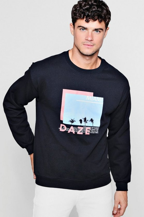 Miami Daze Photo Print Sweatshirt
