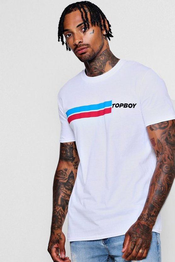 Crew Neck T-Shirt With Top Boy Slogan