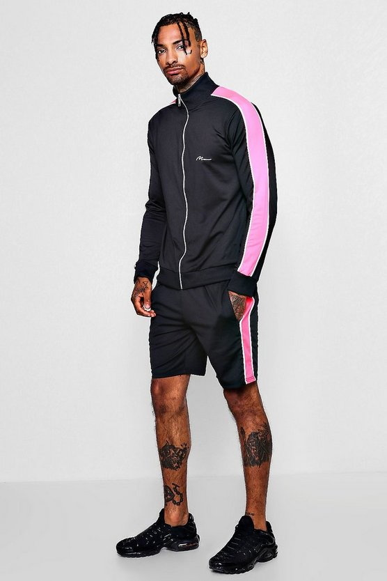 MAN Signature Colour Block Short Tracksuit