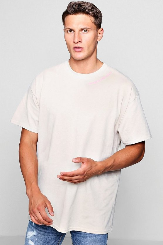 Oversized T-Shirt With Neck Print Design
