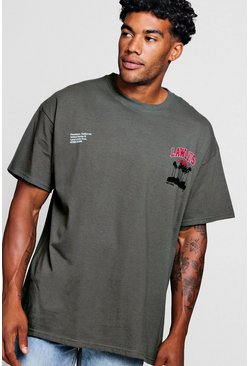 Mens Charcoal Oversized Lawless Print T-Shirt