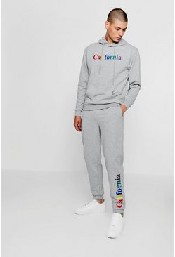 Mens Grey California Embroidered Over The Head Tracksuit