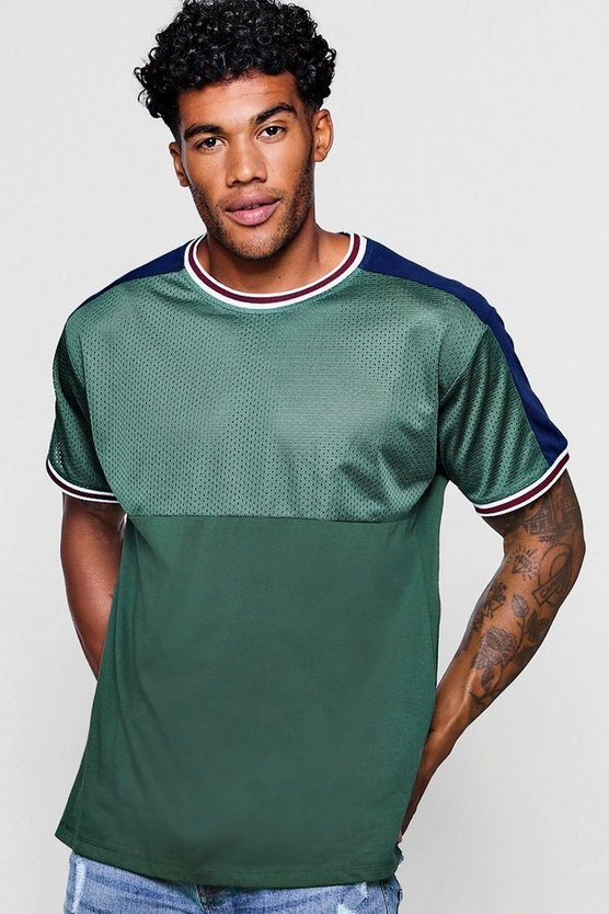 Colour Block Mesh T-Shirt