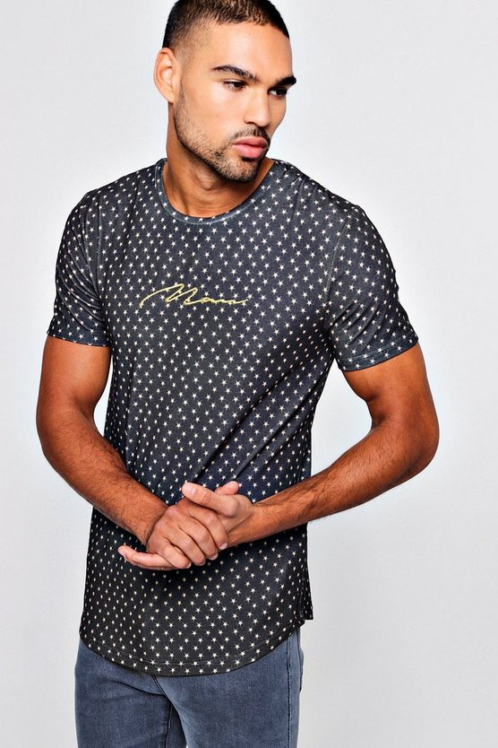 Star Print Muscle Fit T-Shirt With MAN Embroidery