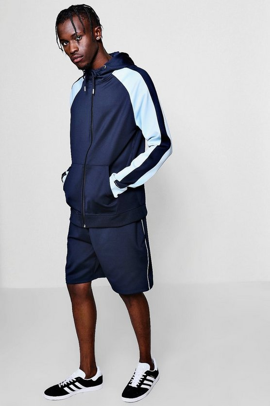 Tricot Zip Through Colour Block Short Tracksuit