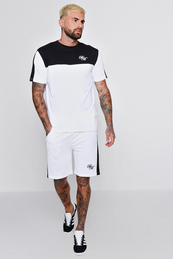 BM Embroidered T-Shirt & Short Set With Contrast