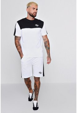 Mens White BM Embroidered T-Shirt & Short Set With Contrast