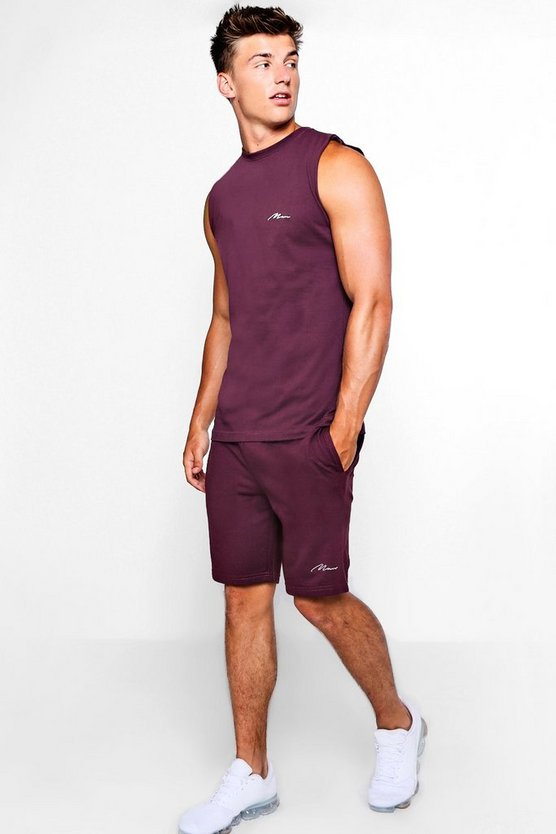 Man Embroidered Tank & Short Set