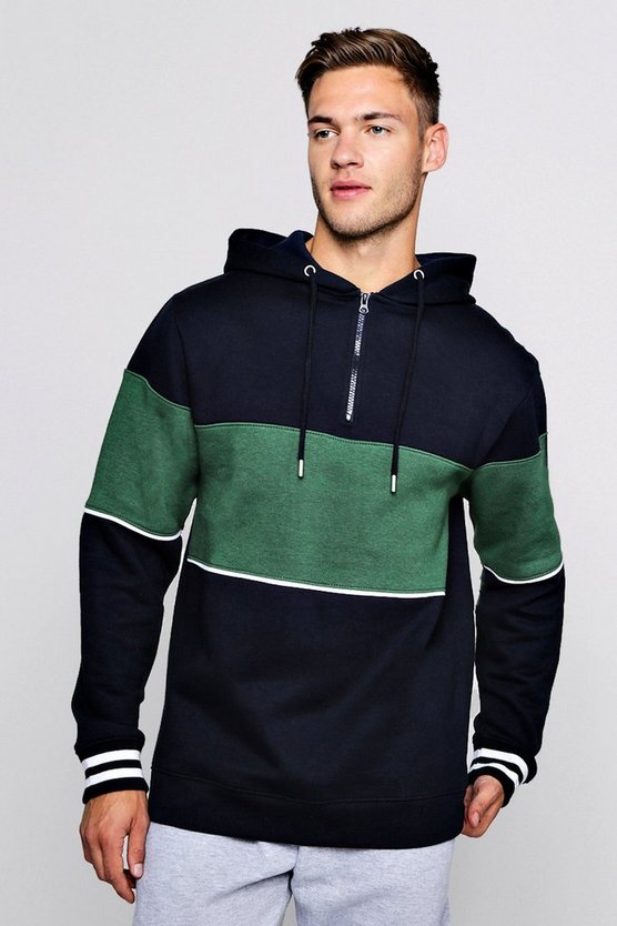 Colour Block Half Zip Fleece Hoodie