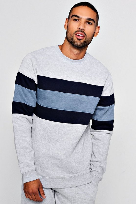 Chest Panel Colour Block Sweater