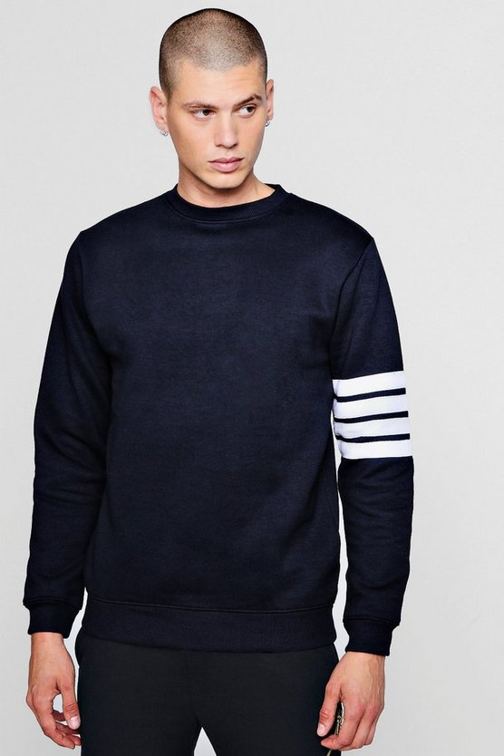 Mens Navy Stripe Detail Crew Neck Sweater