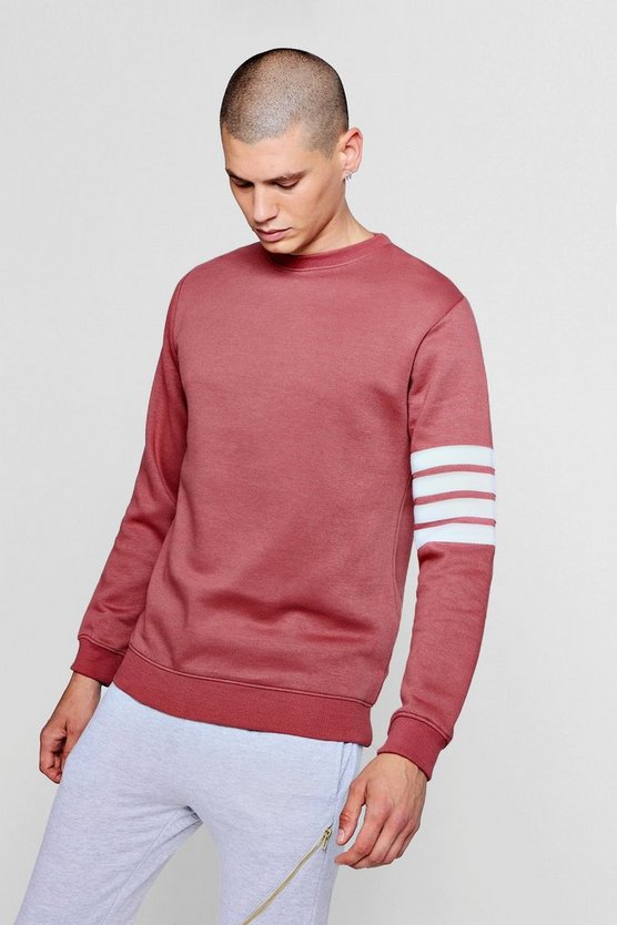 Stripe Detail Crew Neck Sweater, Pink, МУЖСКОЕ