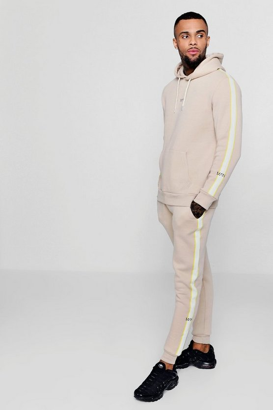 Hooded MAN Tracksuit With Contrast Tape