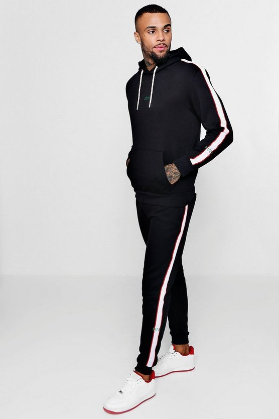 Black Hooded MAN Tracksuit With Contrast Tape