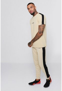 MAN Signature T-Shirt And Jogger Set, Pumice stone, Uomo