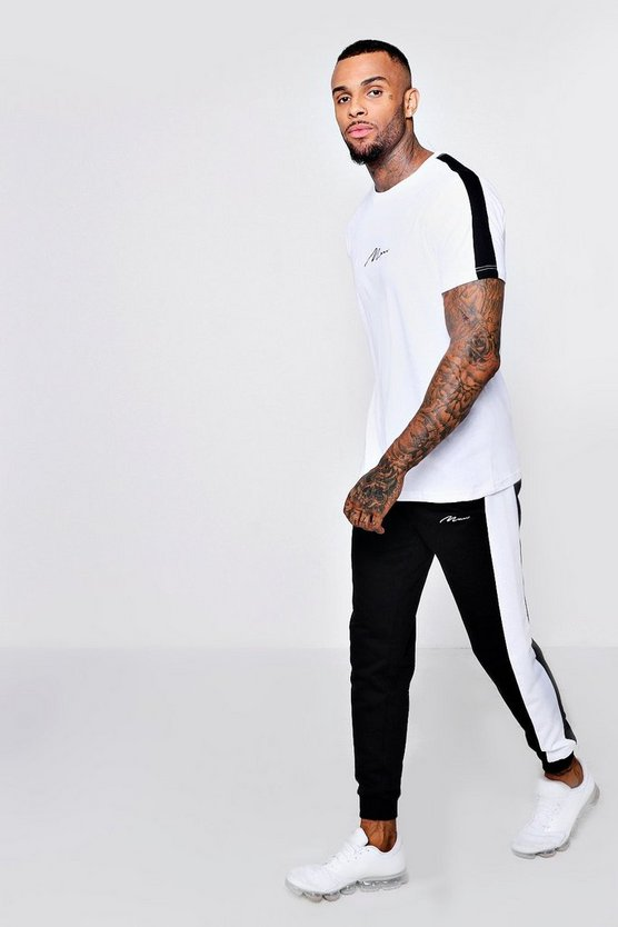 Mens Black MAN Signature T-Shirt And Jogger Set