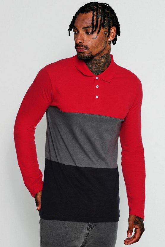 Mens Red Long Sleeve Colour Block Polo