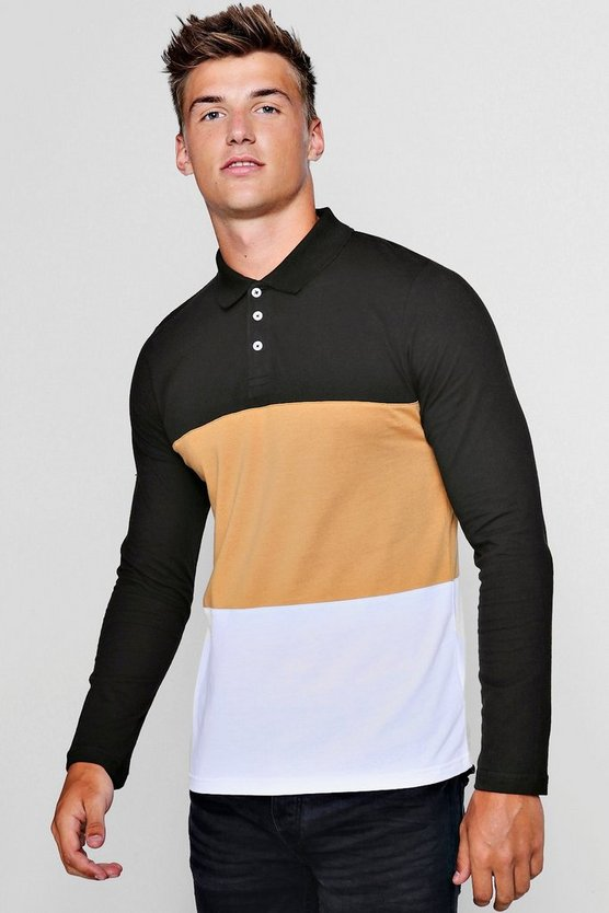 Mens Taupe Long Sleeve Colour Block Polo