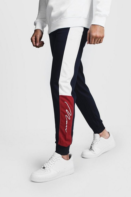 Mens Navy Slim Fit Colour Block MAN Signature Joggers