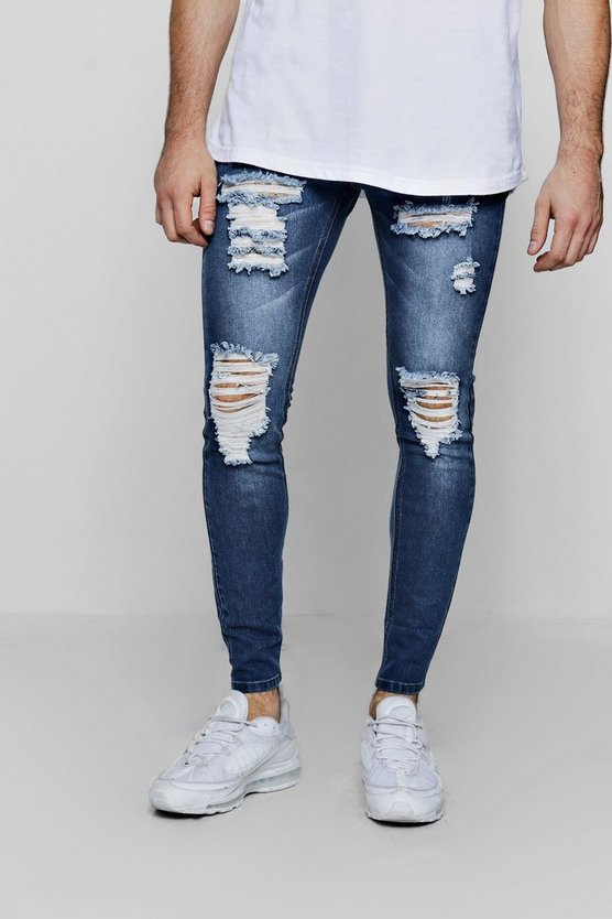 Mid blue Super Skinny Jeans With All Over Rips