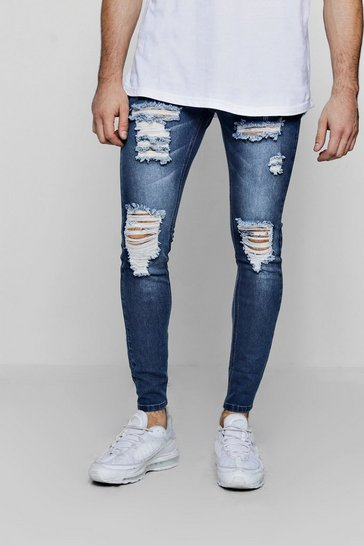 Mens Mid blue Super Skinny Jeans With All Over Rips