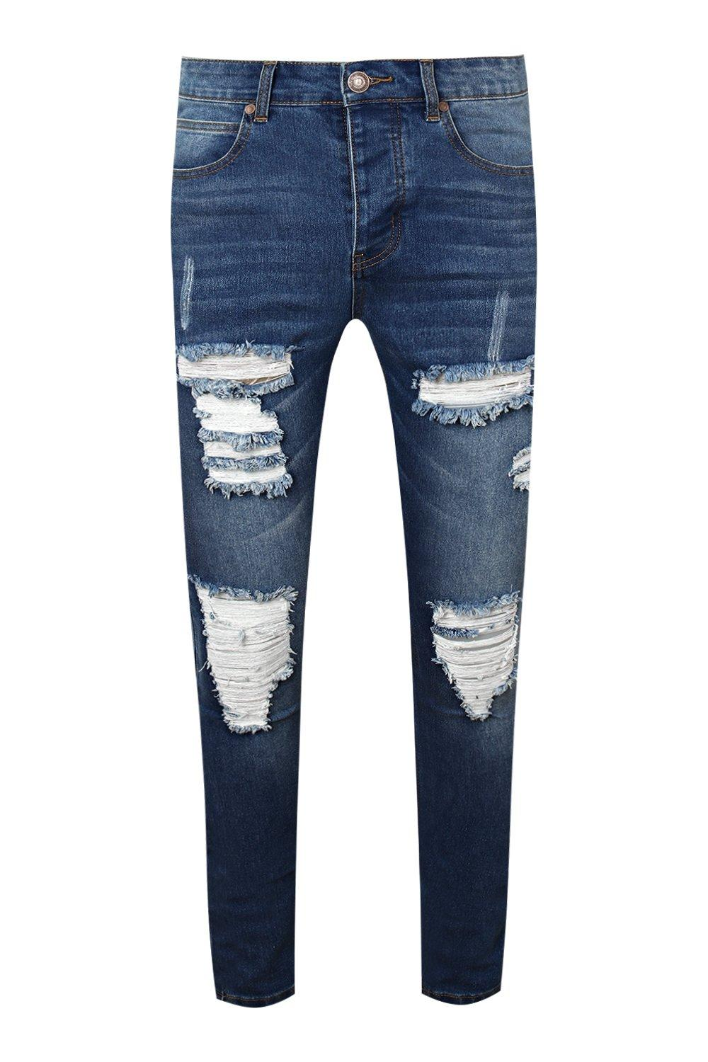blue mid Jeans Rips Super All With Skinny Over B0yBqZgU