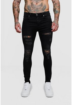 Super Skinny Jeans with All Over Rips, Washed black, Uomo
