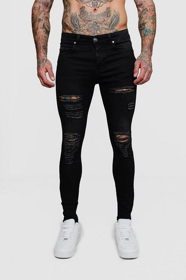 Mens Washed black Super Skinny Jeans with All Over Rips