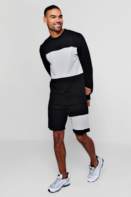 Mens Black Sweater Short Tracksuit With Piping