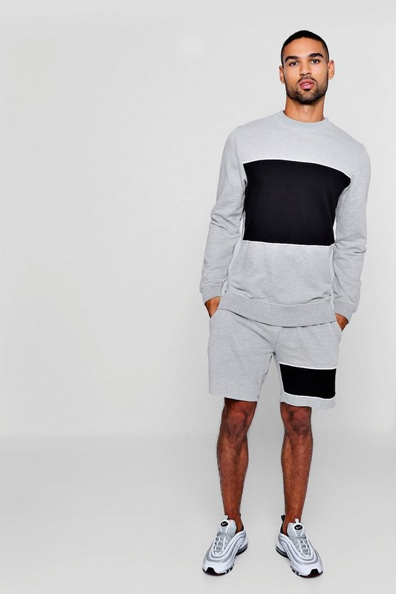 Sweater Short Tracksuit With Piping