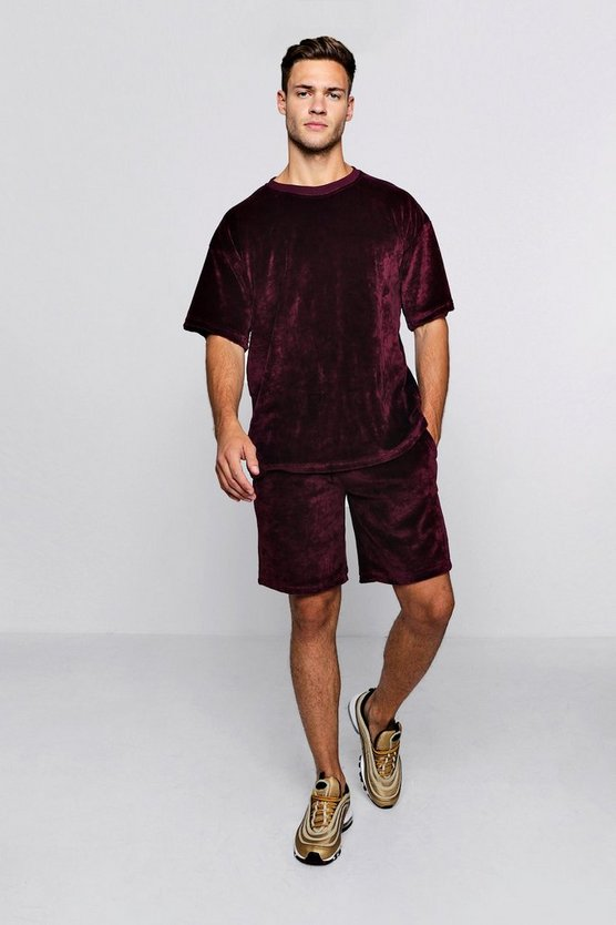 Mens Wine Velour Drop Shoulder T-Shirt & Short Set