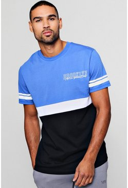 Mens Cobalt Colour Block Brooklyn T-Shirt