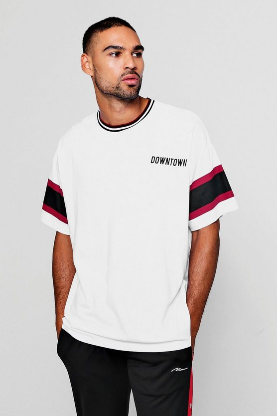 Mens White Boxy Fit Slogan Print Colour Block T-Shirt