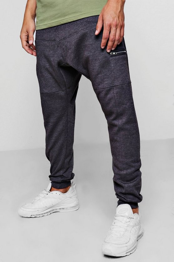 Mens Dark grey Jersey Drop Crotch Joggers