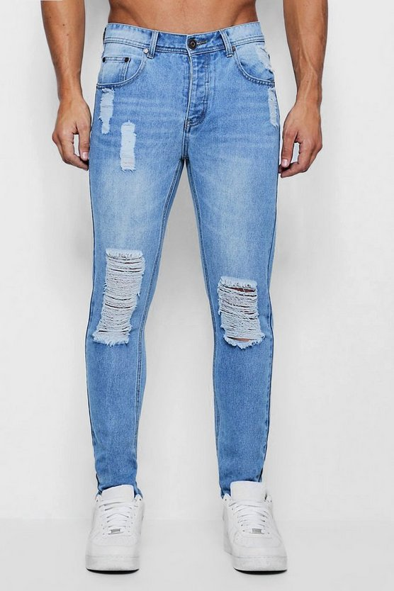 Skinny Fit steife Jeans in Used-Optik