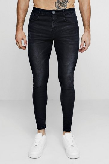 Mens Super Skinny Washed Black Denim Jeans