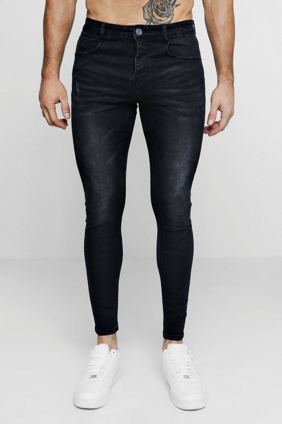 Super Skinny Washed Black Denim Jeans